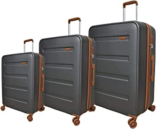 Track Solid Luggage Trolley Bag, 4 Wheels, 3 Pieces - Grey