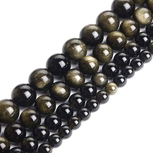 Contas genuínas de obsidiana douradas para fabricação de joias, pedras semipreciosas redondas de 4 mm 38 cm (88 – 90 peças)