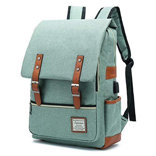 SUPEASE Vintage Slim College School Laptop Backpack with USB Charging Port for Women Men, Green