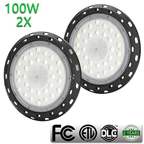 HG® 2X 100W UFO lampe Industriebeleuchtung Hallentiefstrahler Deckenstrahler Kaltweiß IP44 LED Sicherheit und Qualität gewährleistet Ideal Für Lagergebäude Oder Garagen Beleuchtung
