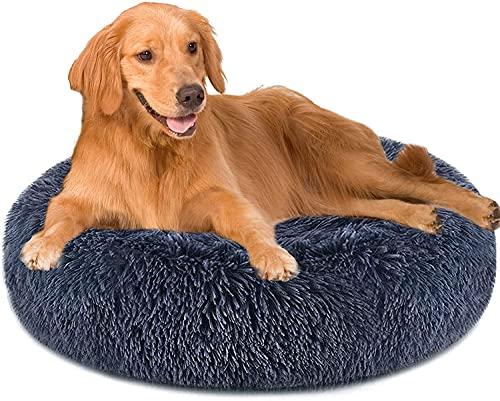 PureFun Cuccia per Cani Rotondo, Cuccia Cane Grande Grigio Scuro Lavabile, Letto per Cani in Peluche Morbida, Cuscino per Cani...