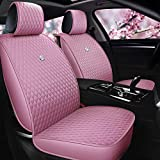 Pink Seat Covers Full Set Leather Auto Seat Covers 9PCS Front & Rear Seat Covers with Airbag Compatible Universal Fit Most Car Auto Suv (B-Pink) -  Haihong