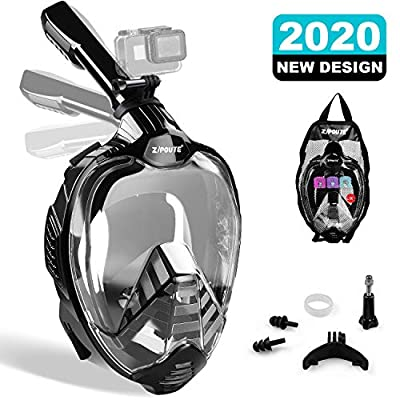 ZIPOUTE Snorkel Mask Full Face, Full Face Snorkel Mask Adult and Kids with Detachable Camera Mount, Snorkeling Mask 180 Panoramic View Anti-Fog Anti-Leak Dry Top Set with Adjustable Straps (Black S/M)
