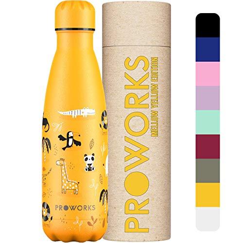 Proworks Botellas de Agua Deportiva de Acero Inoxidable   Cantimplora Termo con Doble Aislamiento para 12 Horas de Bebida Caliente y 24 Horas de Bebida Fría - Libre de BPA - 500ml - Safari Aventura