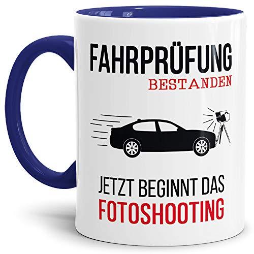 Tassendruck Spruch-Tasse zum Führerschein - Fotoshooting - Innen & Henkel Dunkelblau - Mug/Cup/Becher/Lustig/Geschenk-Idee/Beste Qualität