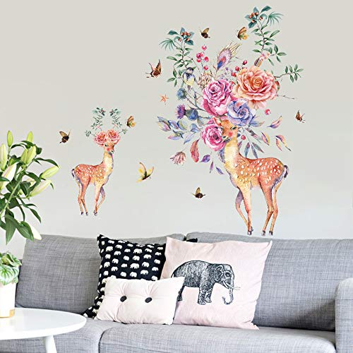 Wandtattoo / Wandaufkleber / Wandaufkleber mit Schmetterlingsmotiv, Motiv: Bunte Blumen, Hirsch, 90 x 60 cm