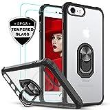 LeYi Funda iPhone SE 2020,Funda iPhone 7 / iPhone 8 con [2-Unidades] Cristal Vidrio Templado,Transparente Carcasa con 360 Grados iman Soporte Silicona Bumper Case para Movil iPhone 8,Clear Negro