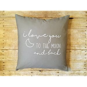N/ A I Love You to The Moon and Back Nursery Pillow Cover Moon Pillow Baby Bedding Baby Girl Baby boy Childrens Bedroom Decor