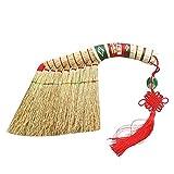 NJIUHB Traditioneller Rundbett Straw Broom Wear Resistant Hand Made Wand- (Größe, 34cm), 34cm (Size : 34cm)