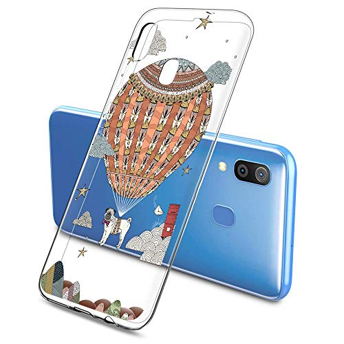 Oihxse Mode Case Compatible pour Samsung Galaxy S8 Coque Transparent Silicone Gel TPU Bumper Animal Motif Dessin Cover Ultra Mince Crystal Clear Antichoc Protection Couverture,Chien