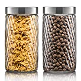 Klikel Glass Canister Set For The Kitchen - Set of 2 Containers With Lids - Tight Seal For Flour Sugar Pasta Cereal - Capacity 37oz / 1100ml 4 1/4 Inch Diam X 6.5 Inch High