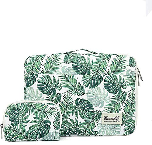 XIANNV Black Women Notebook Computer Bag Banana Leaf Laptop Liner Bag For 13 13.3 14 15 15.6 Macbook Pro Air 13 15 (Color : Green, Size : 14 inch 14.0inch)