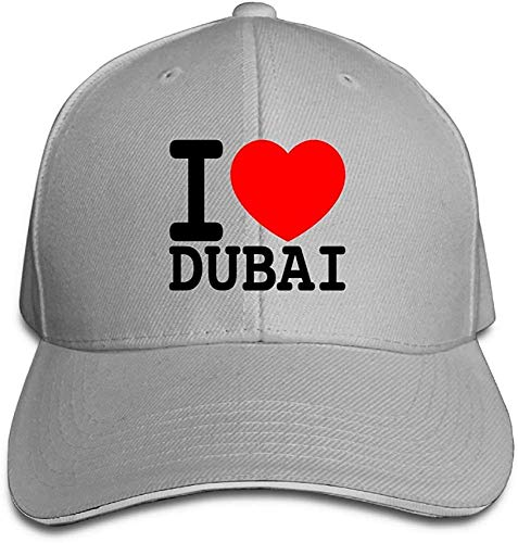 HujuTM Unisex Sandwich Peaked Cap I Love Dubai Design Adjustable Cotton Baseball Caps Hats White