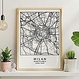 Drucken Stadtplan Mailand skandinavischen Stil in schwarz