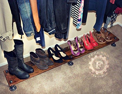 "64"" Shoe Rack, Closet Organizing, Steampunk Decor, Industrial Decor, Home Decor, Store Decor, Boutique Decor, Closet Organizer, Pipe Shelf"