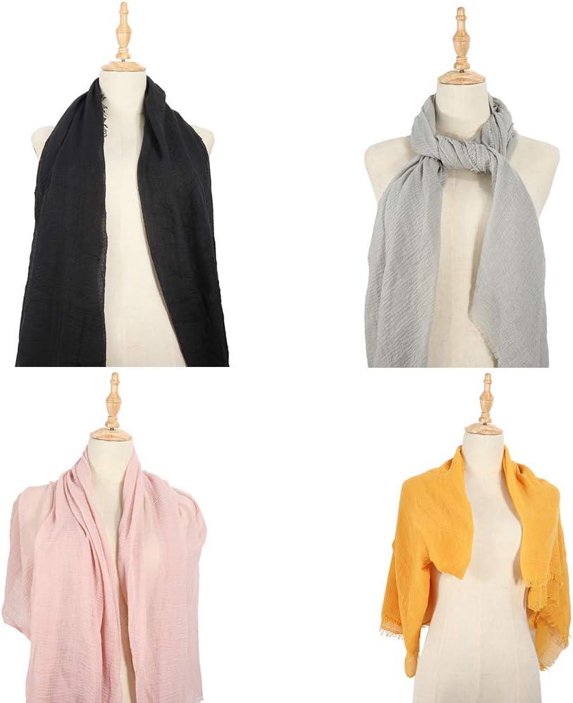 Multicolor 01 Echolife 4 Pcs Women Soft Cotton Hemp Scarf Lightweight Shawl Long Scarf Fashion Hijab Wrap Scarves