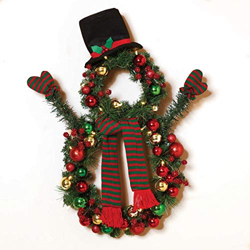 24-Inch Battery Operated Christmas Snowman Wreath