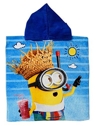Badetuch Bademantel Kapuzen Poncho für Kinder Baumwolle Minions Minion tolles Geschenk für Mädchen und Jungen (Minion AA)