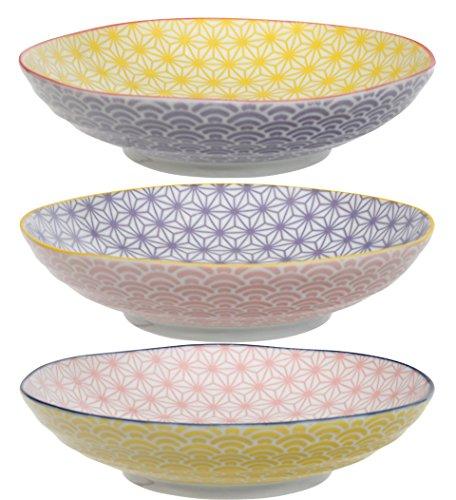 TOKYO design studio Star Wave 3-er Pasta-Teller-Set bunt, Ø 21 cm, ca. 5,3 cm hoch, asiatisches Porzellan, Japanisches Design mit geometrischen Mustern, auch als Suppen-Teller verwendbar