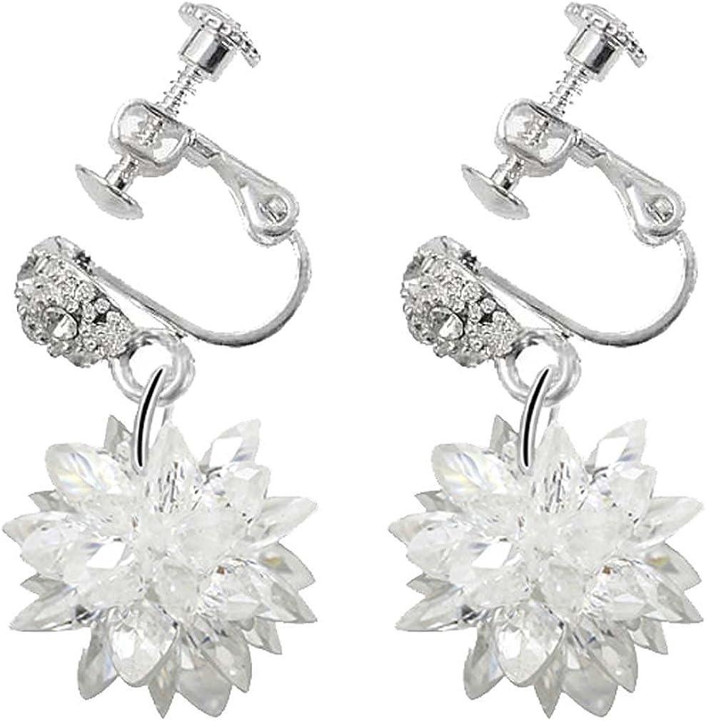 Rhinestone Snowflake Flower Clip on Earrings for Women Girls Bride Non Pierced Cuffs Ears Jewelry Fashion Floral Dangle Drop Ladies Earring Art Deco Wedding Birthday Prom Gifts