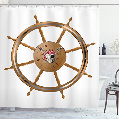 ABAKUHAUS Jahrgang Duschvorhang, Piraten Sea Ship Wheel, mit 12 Ringe Set Wasserdicht Stielvoll Modern Farbfest & Schimmel Resistent, 175x200 cm, Schwarz Braun