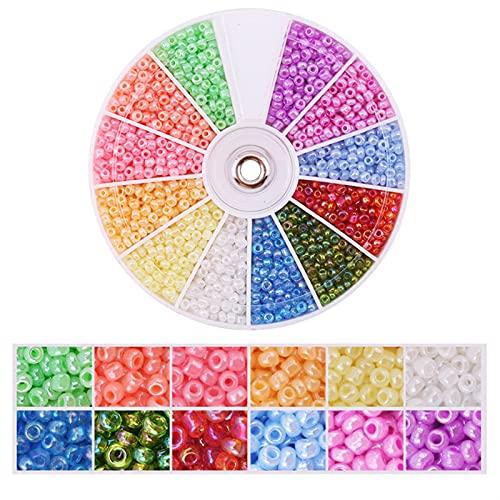 Kit de fabricación de pulsera Cuentas de semillas de vidrio para la joyería que fabrican perlas de cintura de 2 mm Kit 12 colores Pequeñas cuentas con 1 rollos de cristal y 1 pinzas para el collar Ani