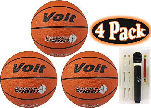 Read About Voit Catch 'N Shoot Official Size 7 Basketball & Ultimate Pump Kit Bundle - 4 Pack