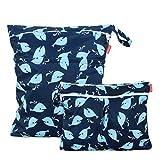 Damero 2 Stück windeltasche wetbag wiederverwendbar, Nasstaschen für Unterwegs, Wetbag windelbeutel für Babys Windeln, schmutzige Kleidung und anderes Zubehör, (Groß + Klein, Wal)