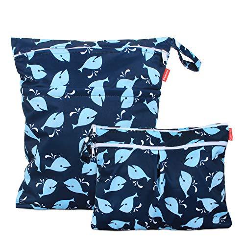 Damero 2 pezzi Bag Pannolino Riutilizzabile, Wetbag Pannolini Lavabili, Borsa per Pannolini per Pannolini per Bambini, Vestiti Sporchi e Altro, (Grande + piccolo, balena)