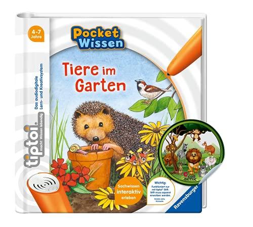 Collectix tiptoi Ravensburger Buch | Pocket Wissen - Tiere im Garten + Kinder Tier-Sticker | Kinderbuch ab 4 Jahren