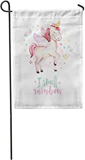 EnmindonglJHO Garden Flag Colorful Cute Watercolor Unicorn Kids Nursery Princess Drawing Pink Cartoon Home Yard House Decor Barnner Outdoor Stand 12x18 Inches Flag
