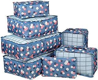 مجموعة من 7 مجموعات من حقائب تخزين قماشية شبكية للأمتعة مكعبة مع حمالة صدر / ملابس داخلية مكعبة وحقيبة للأحذية، زهرة زرقاء