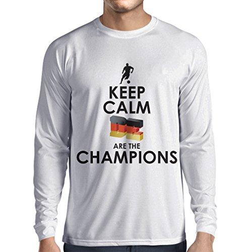 Camiseta de Manga Larga para Hombre Los alemanes Son los campeones - Campeonato de Rusia 2018, Copa Mundial de fútbol, Equipo de la Camiseta del Ventilador de Alemania (XS Blanco Multicolor)