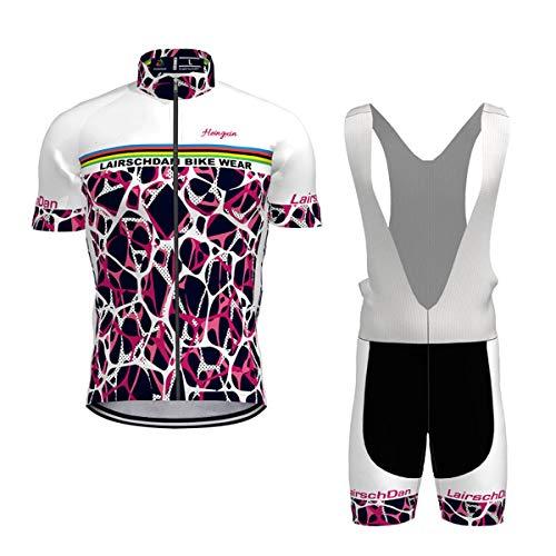 Hengxin Maillot Ciclismo Corto De Verano para Hombre, Ropa Culote Conjunto Traje Culotte Deportivo con 3D Almohadilla De Gel para Bicicleta MTB Ciclista Bici (Rosa roja, XXXXL)