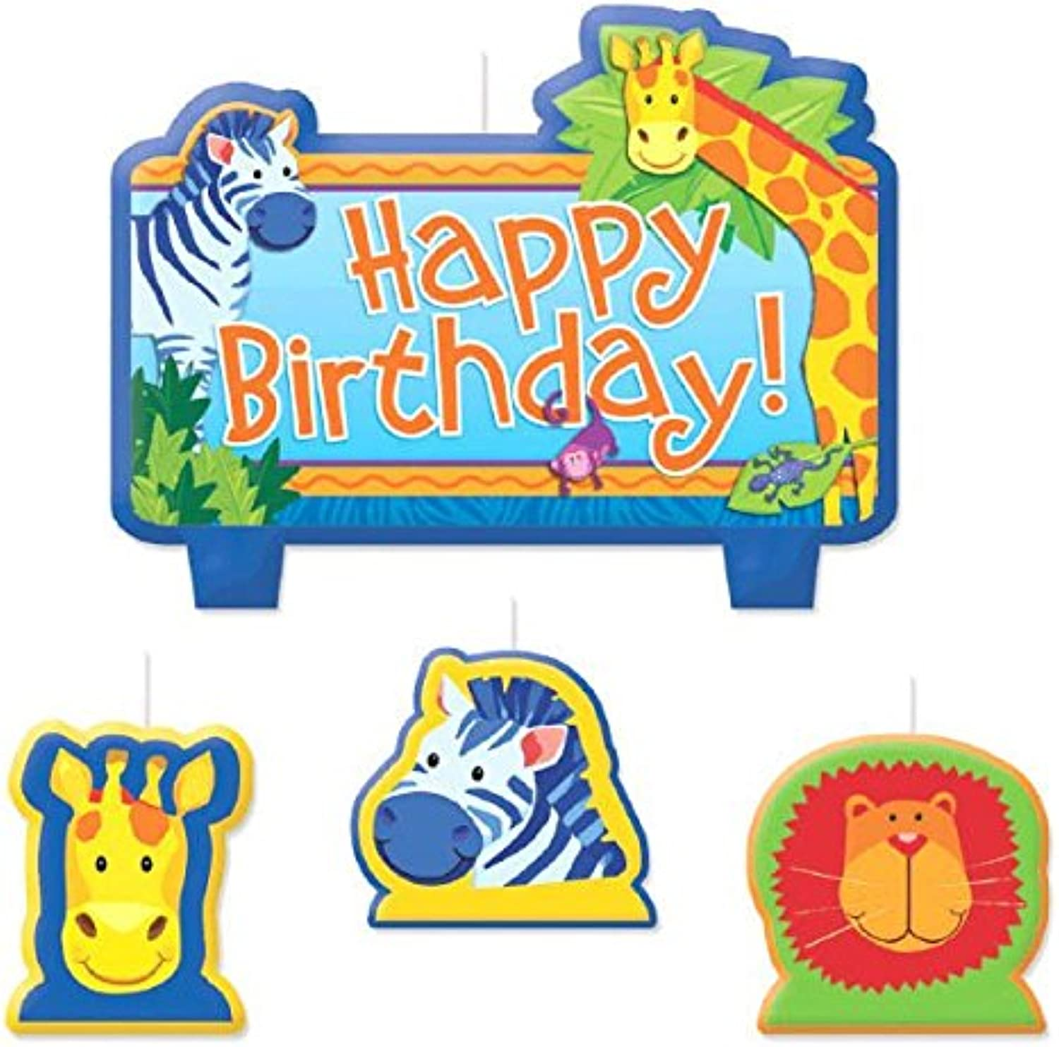 Party Time Jungle Animals Molded Mini Character Birthday Candle Set, Blau , 2.5 x 2.9 Wax by TradeMart Inc.