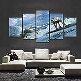 KOPASD Art Enlienzo Póster Star Wars Batalla de Hoth AT-AT 5 Piezas Pared Mural para Decoracion Cuadros Modernos Salon Dormitorio Comedor Cuadro Impresión Piezasmaterial