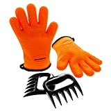 BBQ Master Heat Resistant Silicone Cooking Gloves & Meat...