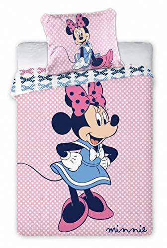 Ropa de cama infantil Disney III, 2 piezas, 100% algodón, 40 x 60 cm + 100 x 135 cm, con cremallera (Minnie Rosa)