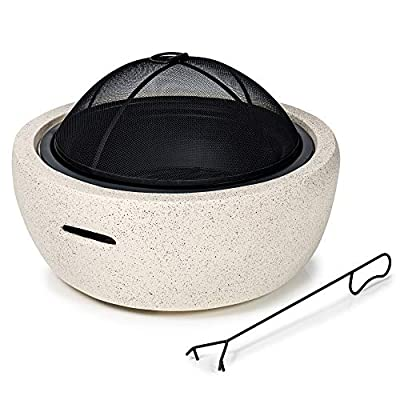 GardenCo MgO Round Fire Pit - Outdoor Firepit for Garden and Patio - Wood and Charcoal Burner - with Spark Guard from GardenCo