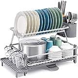 Kingrack Estante de secado de platos de 2 niveles,escurridor de platos de...