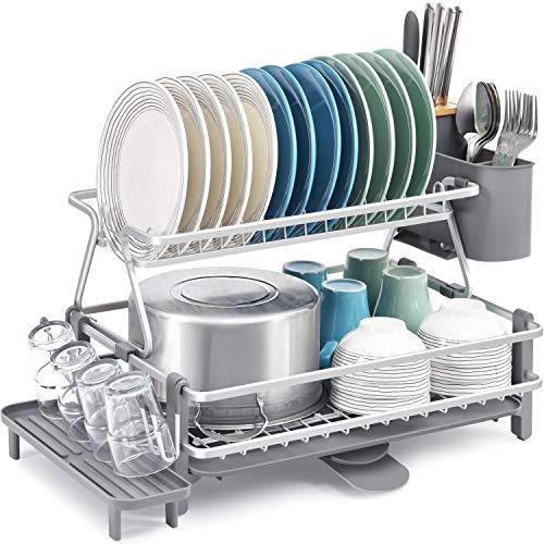 Kingrack Estante de secado de platos de 2 niveles,escurridor de platos de aluminio,estante de gran capacidad con boquilla giratoria extensible de 360°,soporte de cubiertos extraíble,tabla de drenaje