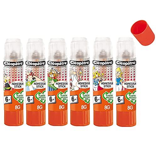 CLEOPATRE BL6BA8ADAST- Boîte de 6 bâtons de colle Transparente Adhésive Stick Asterix en 8 g