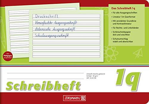 Brunnen 1045941 Schreibheft Klasse 1 (A5, 16 Blatt, quer, Lineatur 1q)