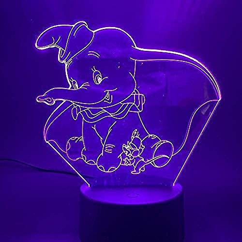 3D Led Nachtlampje Lamp Dumbo Schattige Baby Nachtlampje Kleur Veranderende Binnendecoratie Kinderen Meisje Jongens Kind Cadeau 3D Lamp Olifant