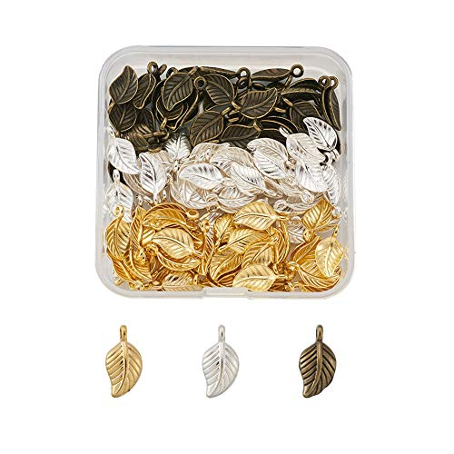 Cheriswelry - 120 ciondoli a forma di foglia, in lega metallica, in stile tibetano, per fai da te e per creare gioielli artigianali (argento/oro/bronzo anticato)