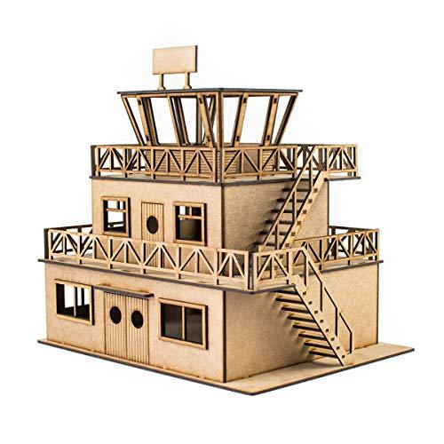 Edificio a escala torre de Control maqueta 1:32 para Pistas de Slot, Kit de Madera para Montar DIY Compatible con circuitos Coches Scalextric, Ninco Slot, Scalextric Original, Carrera y ScaleAuto