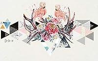 ポスターデカール ピンクの鳥のカップル 3D 壁画壁紙デザインのカスタムメイド壁画リビングルームホーム壁紙装飾-120X100cm (47X39inch)