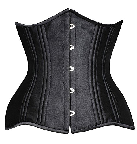 SHAPERX Women 24 Double Steel Boned Longline Heavy Duty Waist Training Corsets Body Shaper, SZ1971-Black-XS