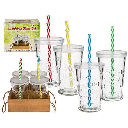 4 teiliges Gläserset,Trinkgläser Summer Party mit Kunststoffdeckel und Strohhalm