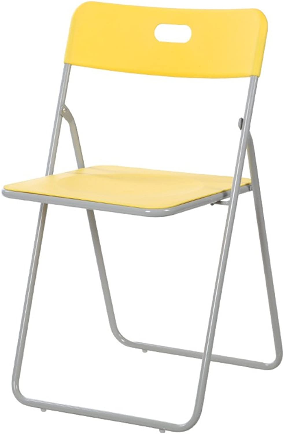 Chair Stool Folding Office Computer Ergonomic Simple Seat with Backrest (color   Yellow)